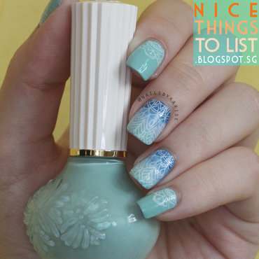 Blue Gradient Stamping nail art by Karise Tan