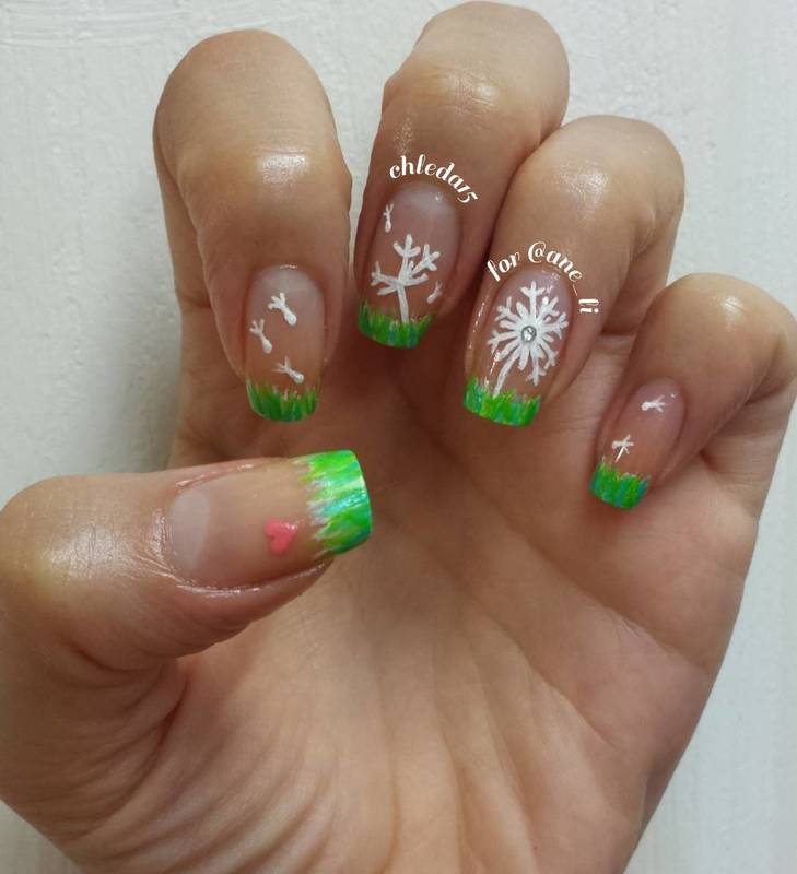 Dandelions in the Wind nail art by chleda15