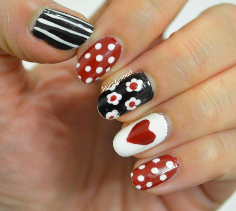 Hearts and Flowers  nail art by NailsContext