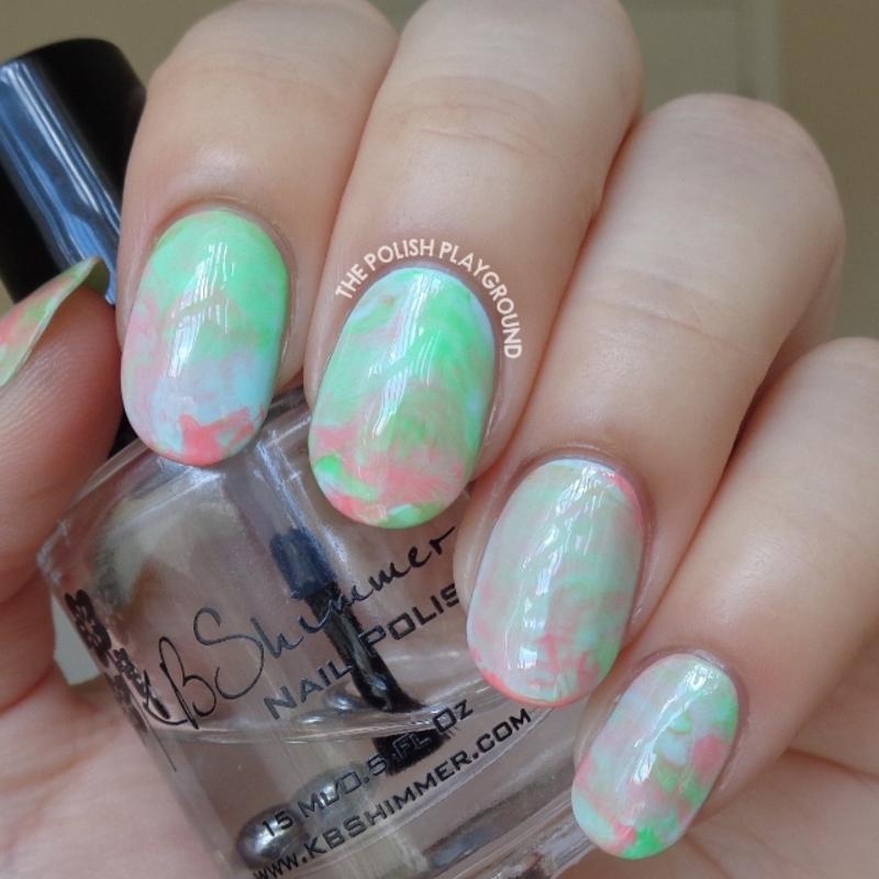 Summer Sorbet Inspired Stamping Marble nail art by Lisa N