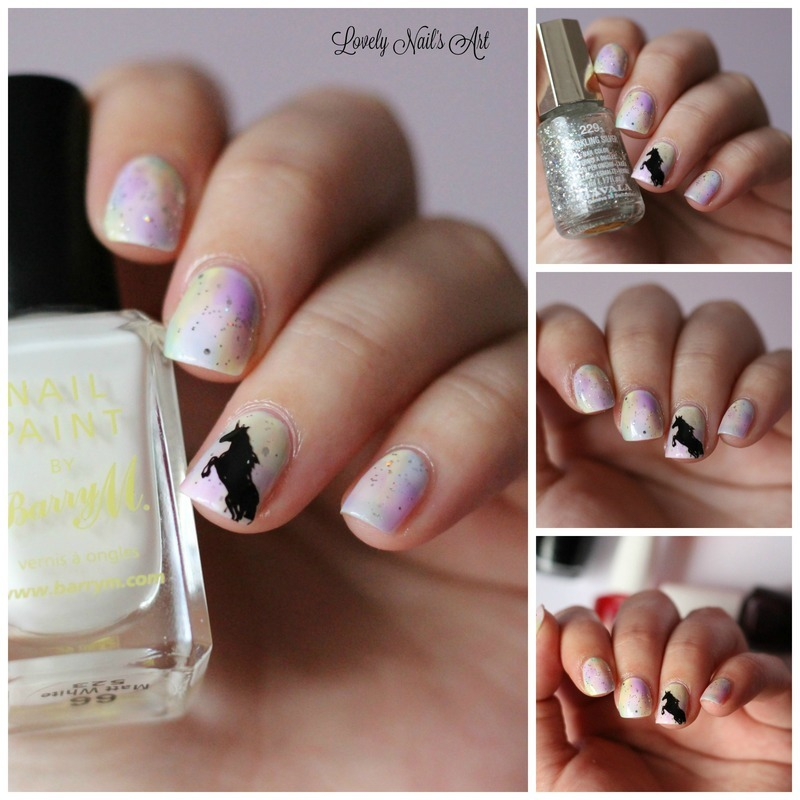 nail art stamping licorne  nail art by Lovely Nail's  Art