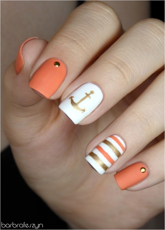 Anchors aweigh! nail art by barbrafeszyn