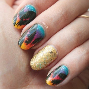 Tropical Sunset nail art by Cutecle