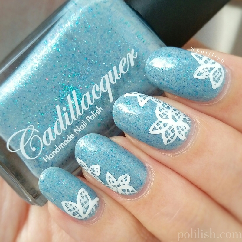 Freehand lace flowers nail art by polilish