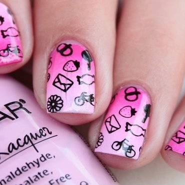 Pink Ombre & Stamping nail art by Romana