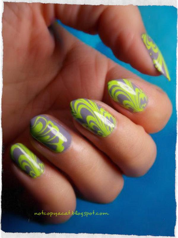 So-called water marble nail art by notcopyacat