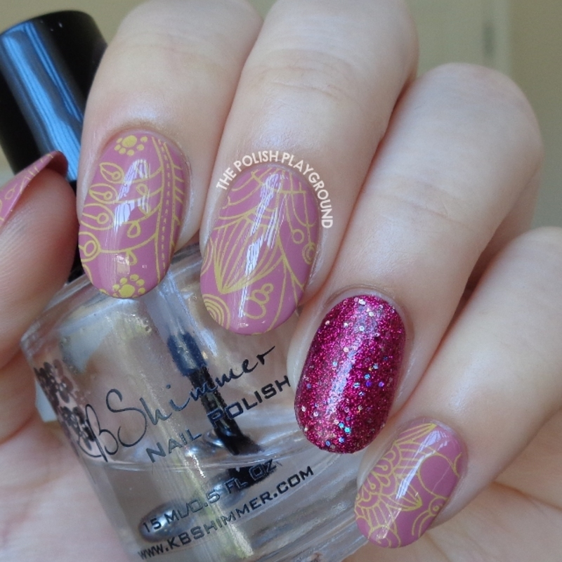 Purple with Yellow Floral Stamping and Glittery Accent nail art by Lisa N