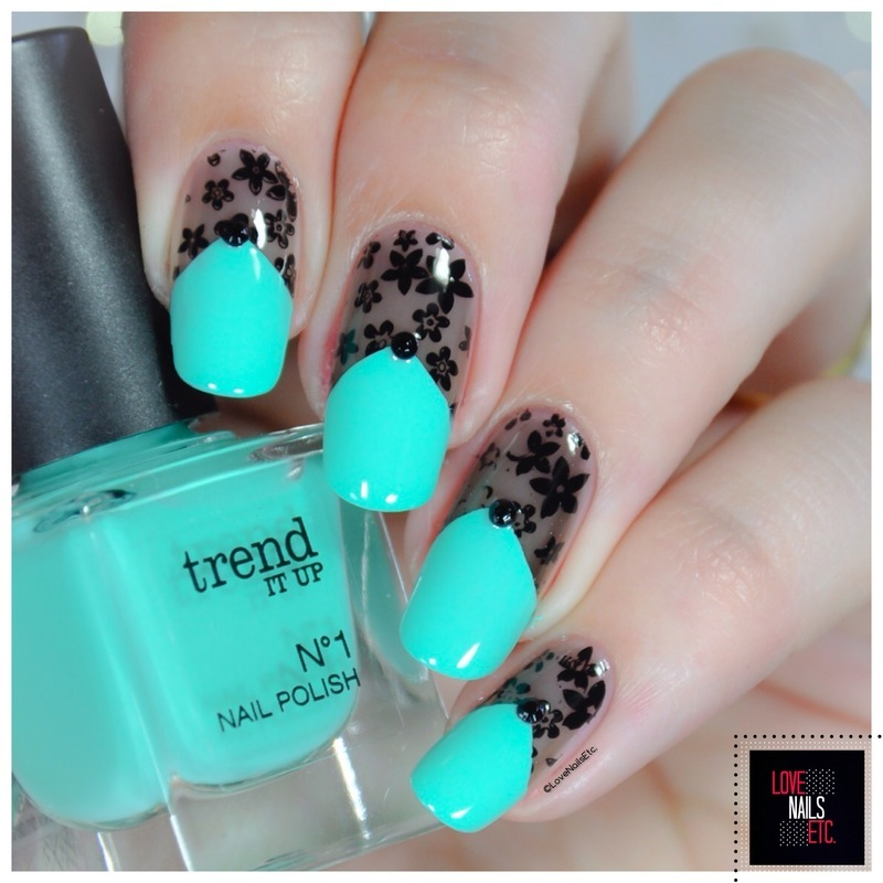 Flowered lace nail art by Love Nails Etc
