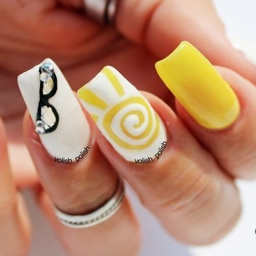 Yellow summer nail art design nail art by Volish Polish