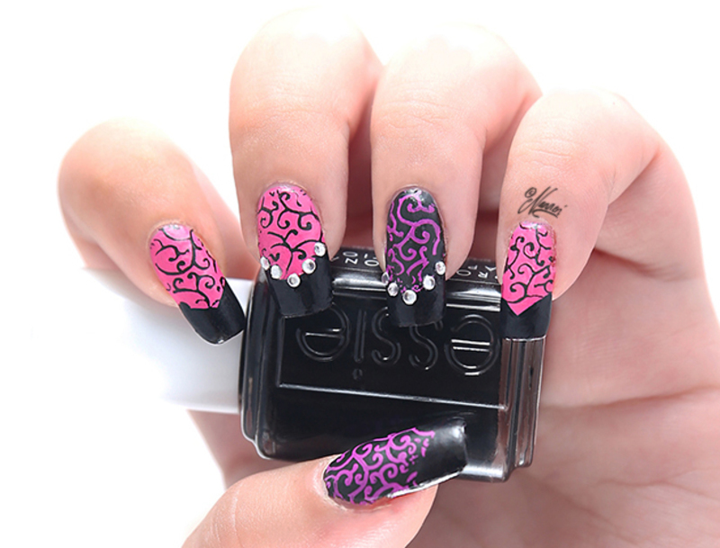 Black & Pink nail art by Nanneri