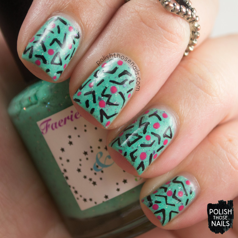 Flakie 80s nail art by Marisa  Cavanaugh