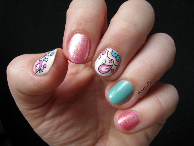Pink & mint splash nail art by Nail Crazinesss