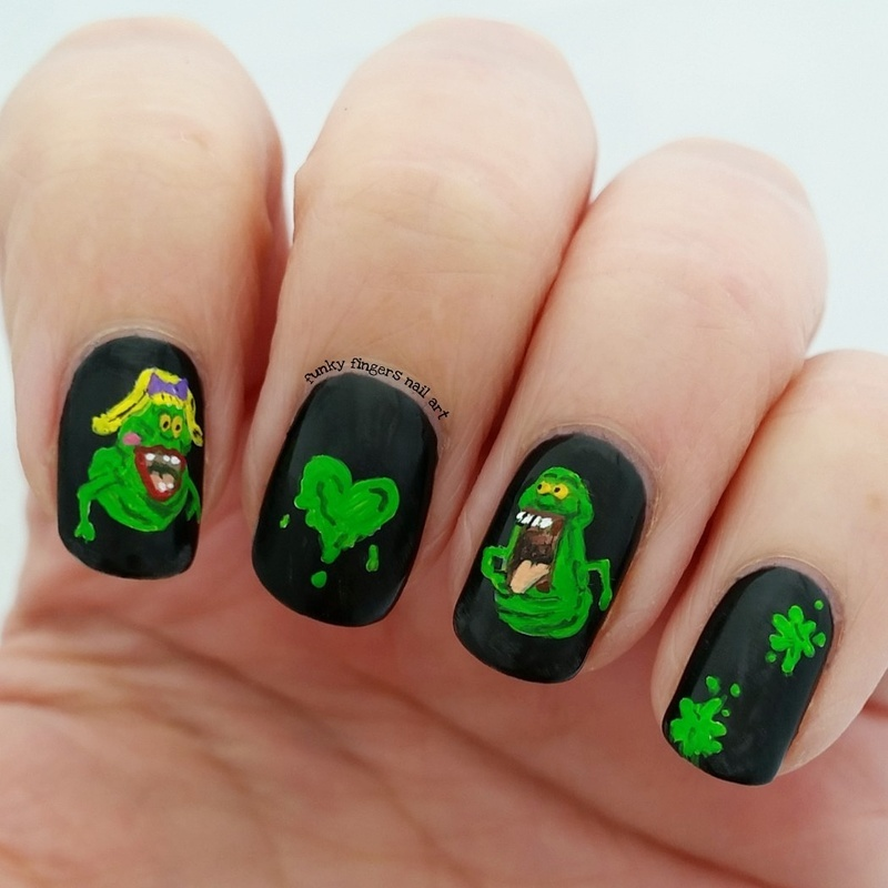 Slimer and his girlfriend  nail art by Funky fingers nail art