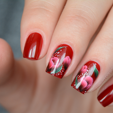 One Stroke Flowers nail art by bopp