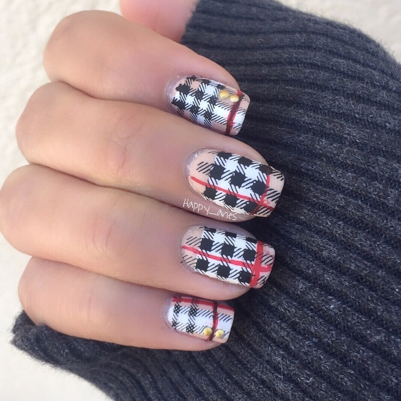 Burberry Inspired  Nail art  nail art by Happy_aries