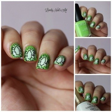 Nail art stamping kiwi nail art by Lovely Nail's  Art