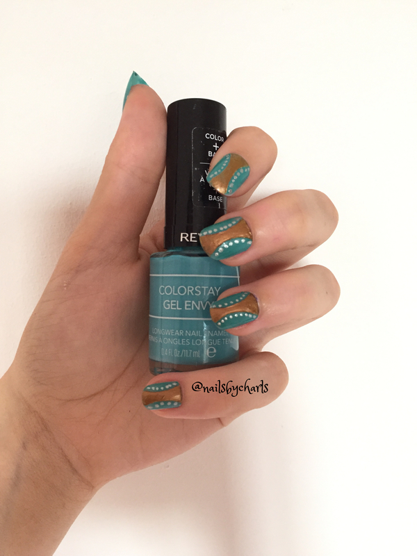 Chrome & Turquoise nail art by Nailsbycharls