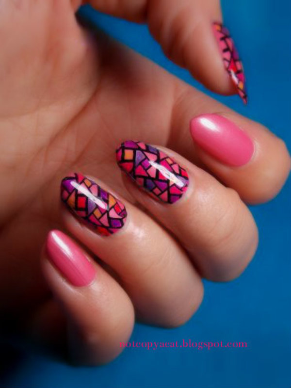 Stained glass manicure  nail art by notcopyacat