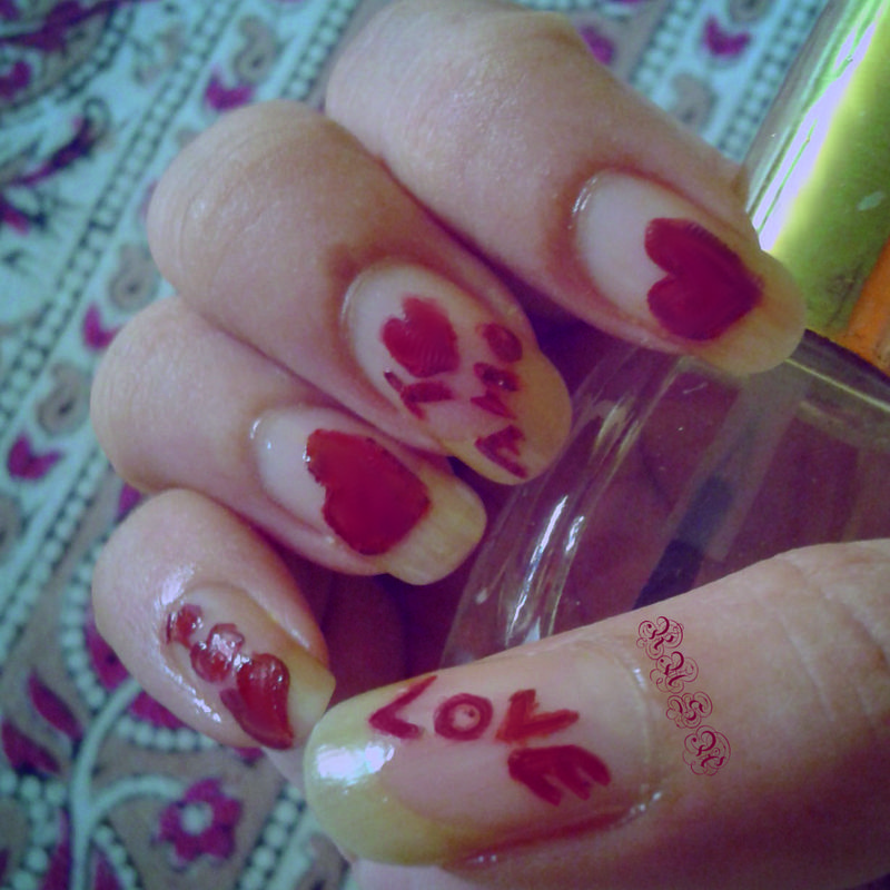 Hearts & Scribbles nail art by Rusa
