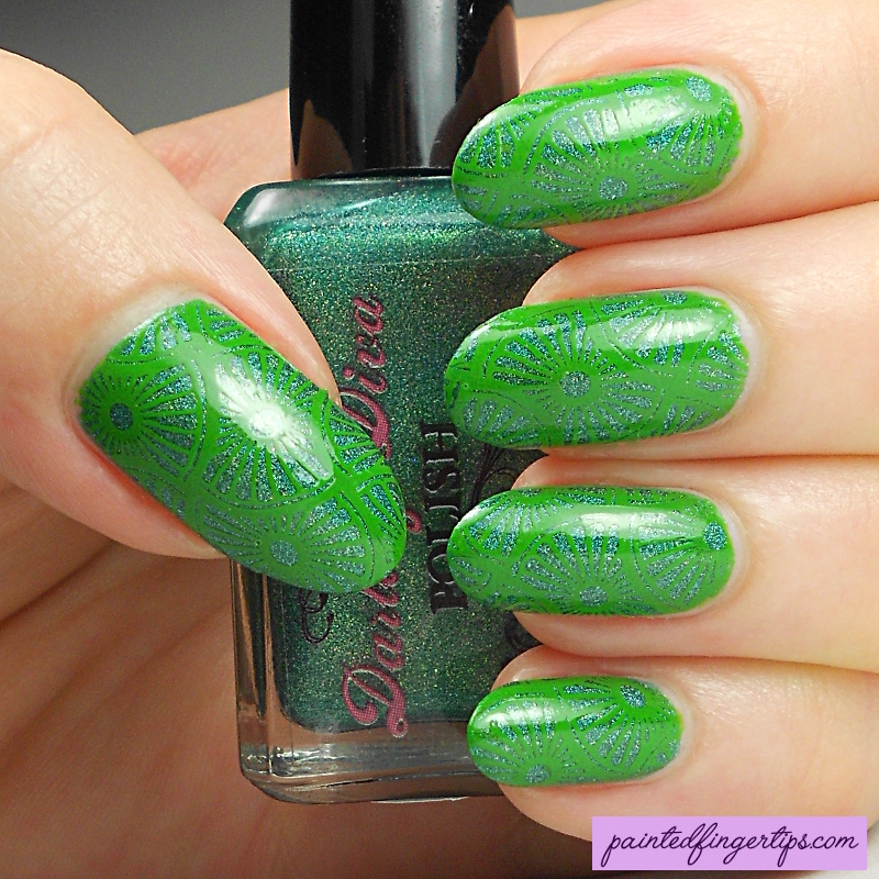 Tone-on-tone green stamping nail art by Kerry_Fingertips