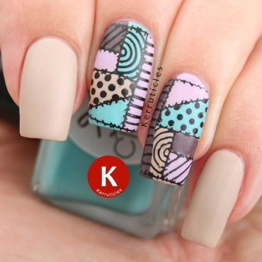 Patchwork nails nail art by Claire Kerr
