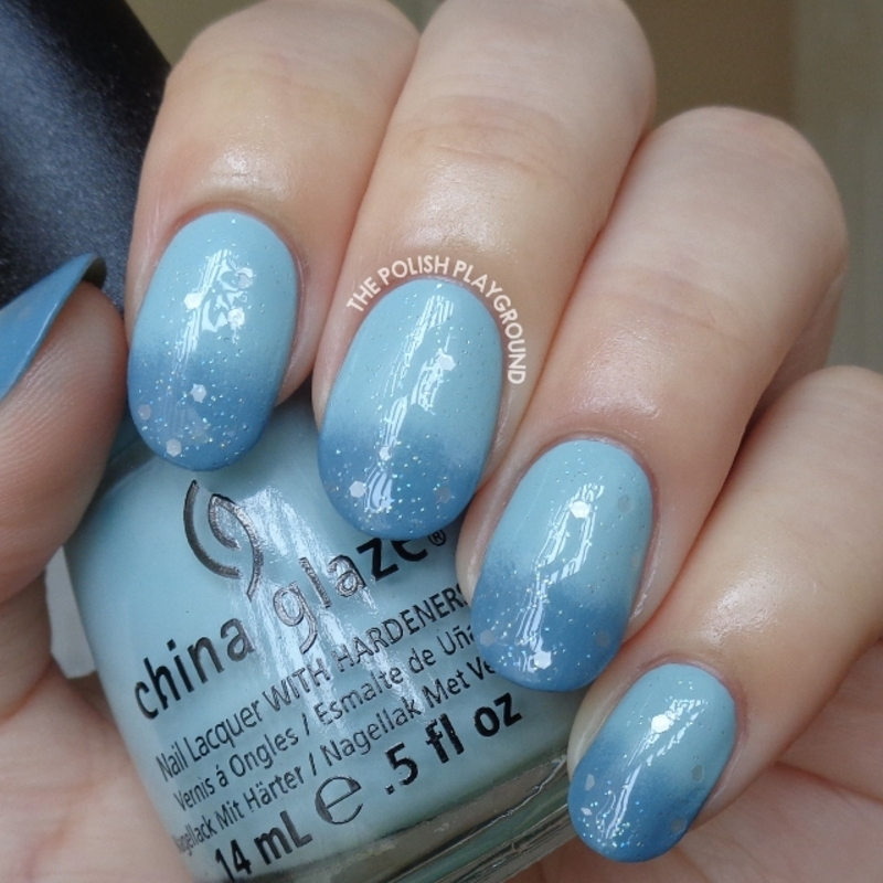 Blue Gradient with Soft White Glitter nail art by Lisa N