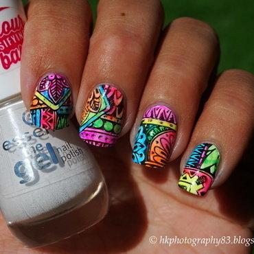 Shangri-La Neon Stamping Nail art nail art by Hana K.