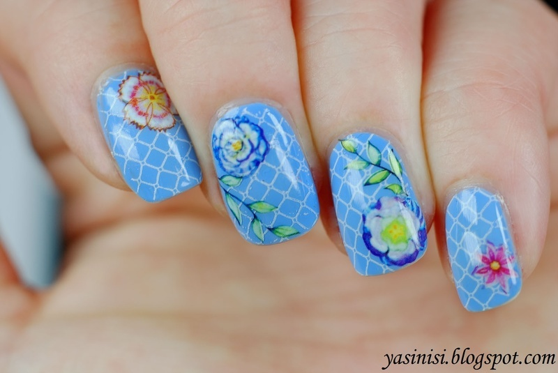 Floral water decals over stamps nail art by Yasinisi