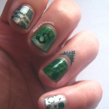 Slytherin Nail Art nail art by VixensWedding