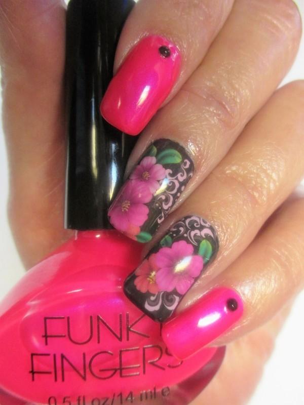 PunkRock Pink Solar nail art by NinaB