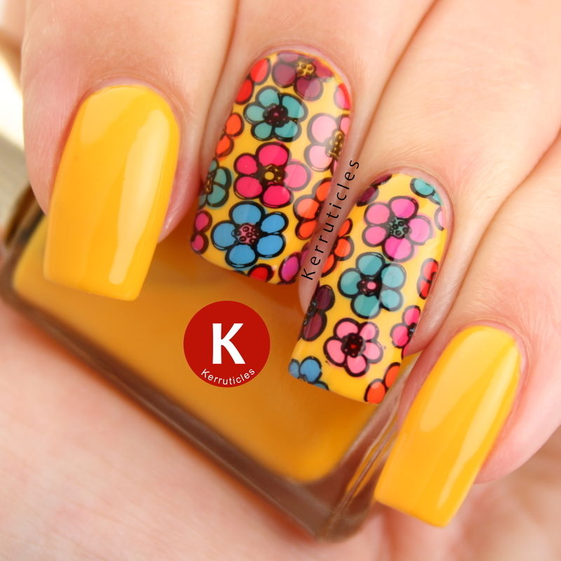 """Flower power"" nails nail art by Claire Kerr"