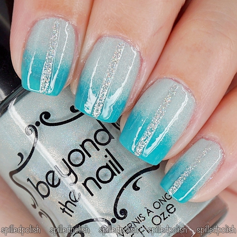 Teal Gradient nail art by Maddy S