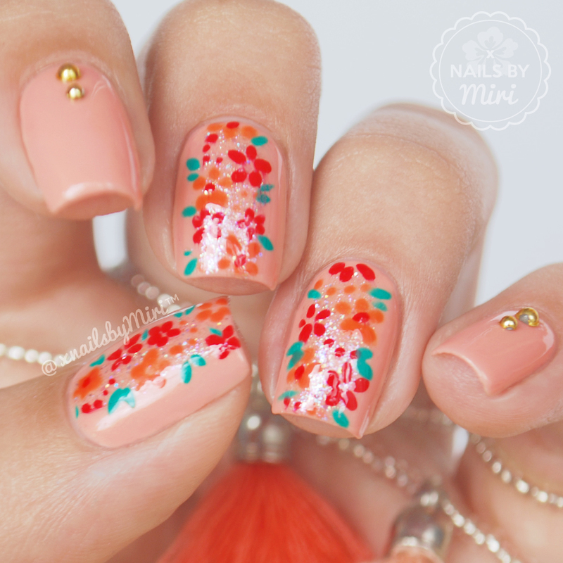 Flower Print Stroke nail art by xNailsByMiri