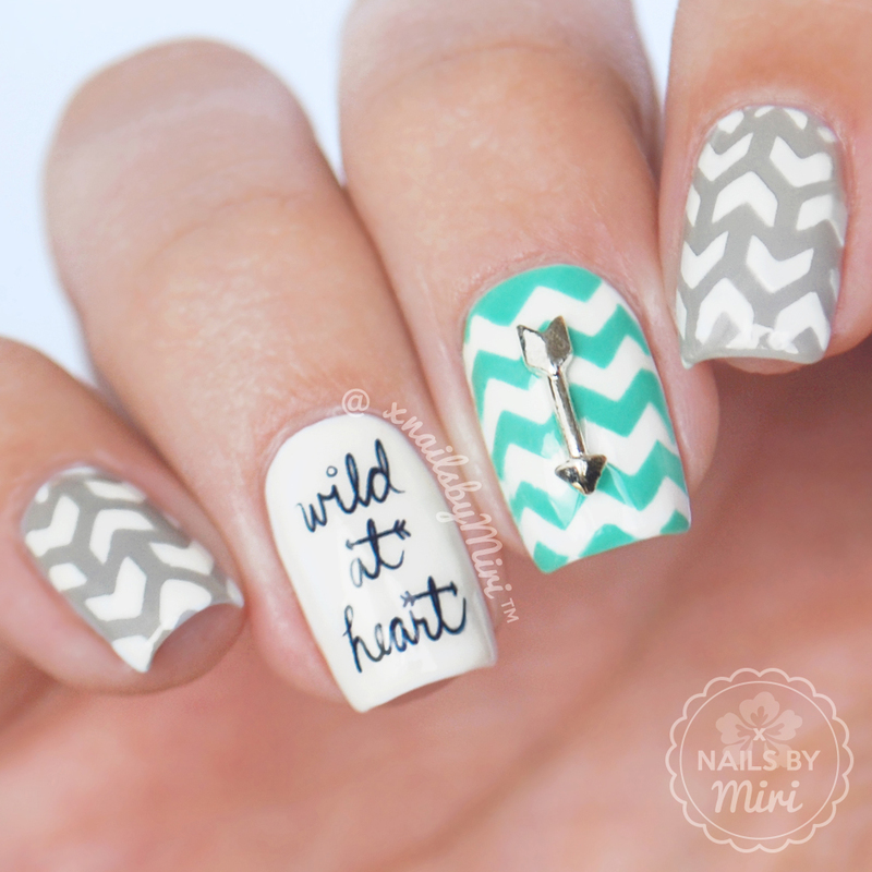 Mix & Match Arrow Chevron Nails nail art by xNailsByMiri
