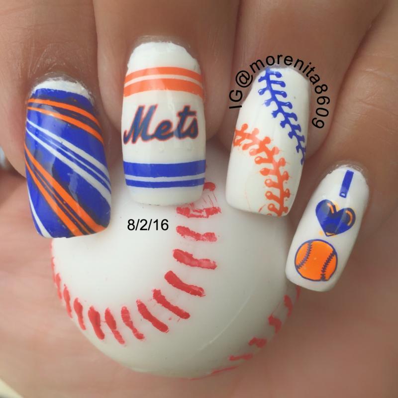 Baseball Nails NY Mets 💙💙⚾ nail art by Morenita Morena ...