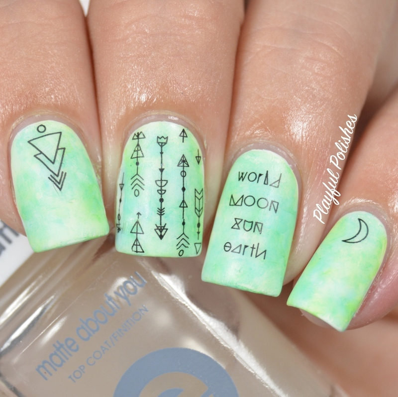 Sharpie Watercolor nail art by Playful Polishes