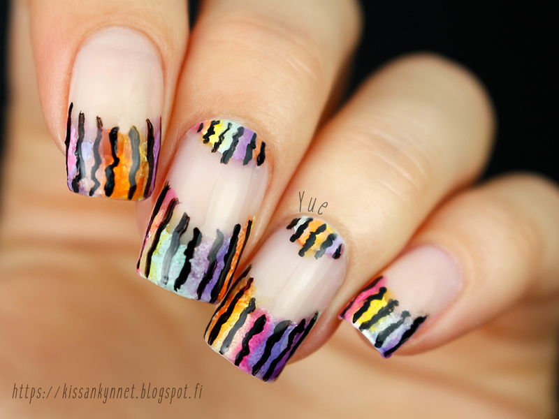 Watercolour French nail art by Yue