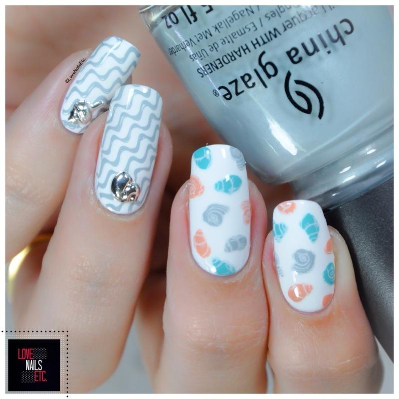 Sea Shells nail art by Love Nails Etc