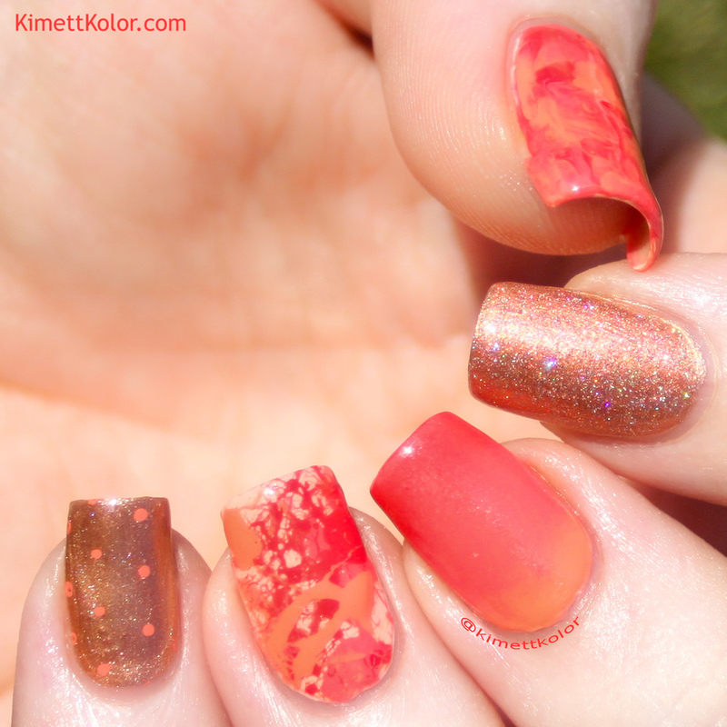 Everything In Coral nail art by Kimett Kolor