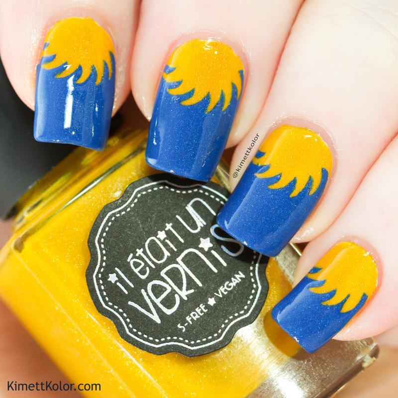 Sunshine Nails - Blue and Yellow nail art by Kimett Kolor