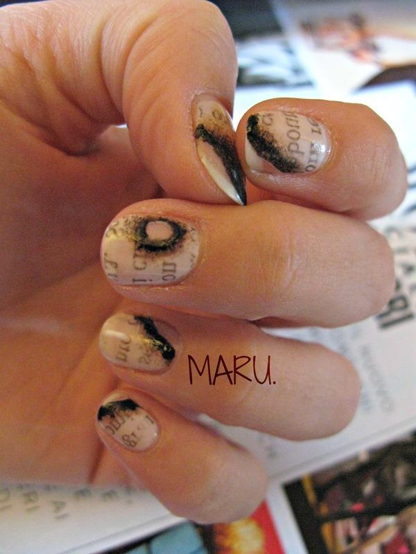 Burned Newspaper nail art by Martina