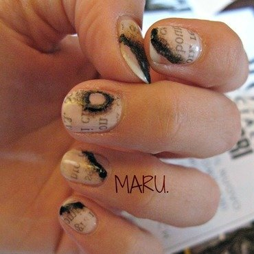 Burned Newspaper nail art by Martina