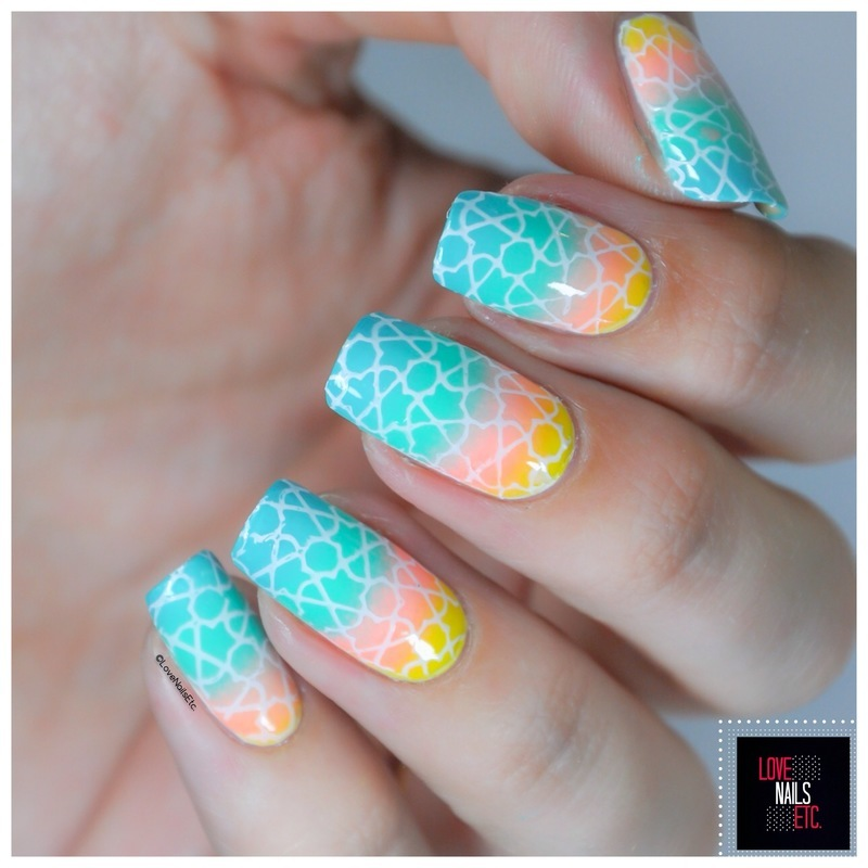 Arabesque multicolor nail art by Love Nails Etc