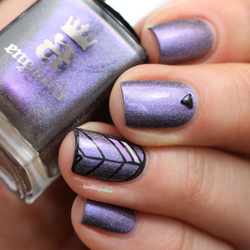 violet leaf nail art by nathalie lapaillettefrondeuse