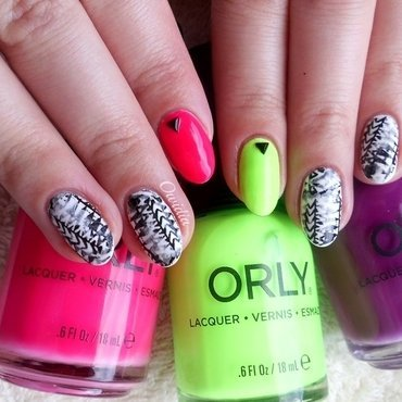 Neon aztec nails. nail art by Owidia