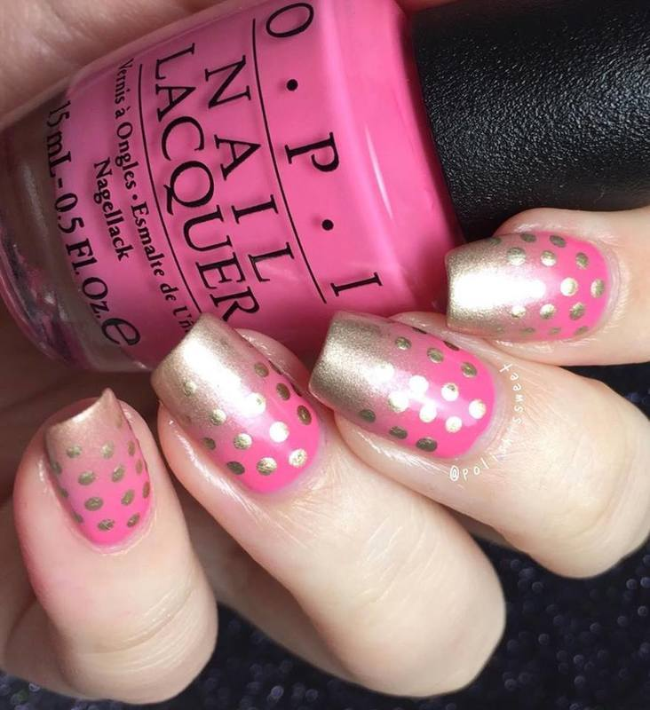 Gold Fading Dots nail art by PolishIsSweet
