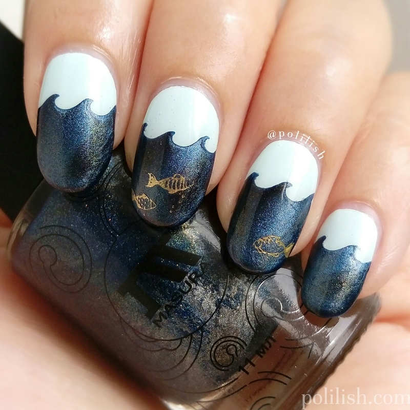 Marine nail art with magnetic polish nail art by polilish