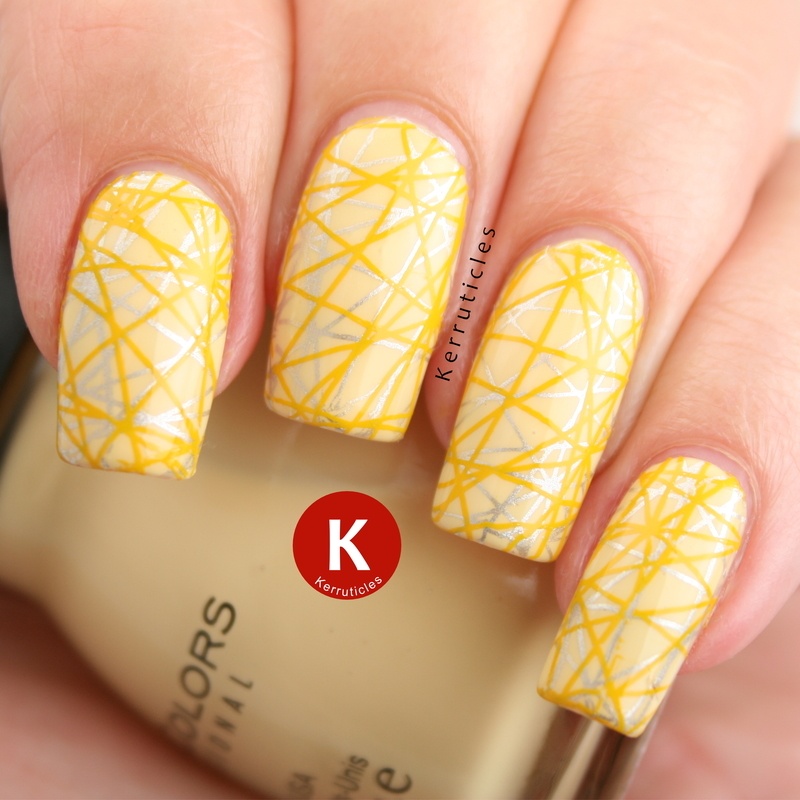 Geometric yellow and silver double stamping nail art by Claire Kerr