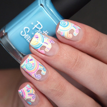 Negative Space Pastel Neon Rainbow Swirls nail art by Emiline Harris