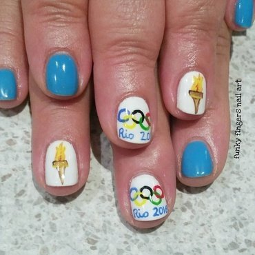 Olympic nails nail art by Funky fingers nail art